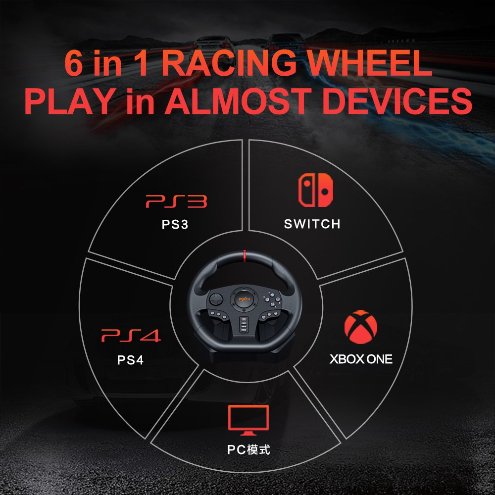 6 in 1 racing wheel play in almost devices