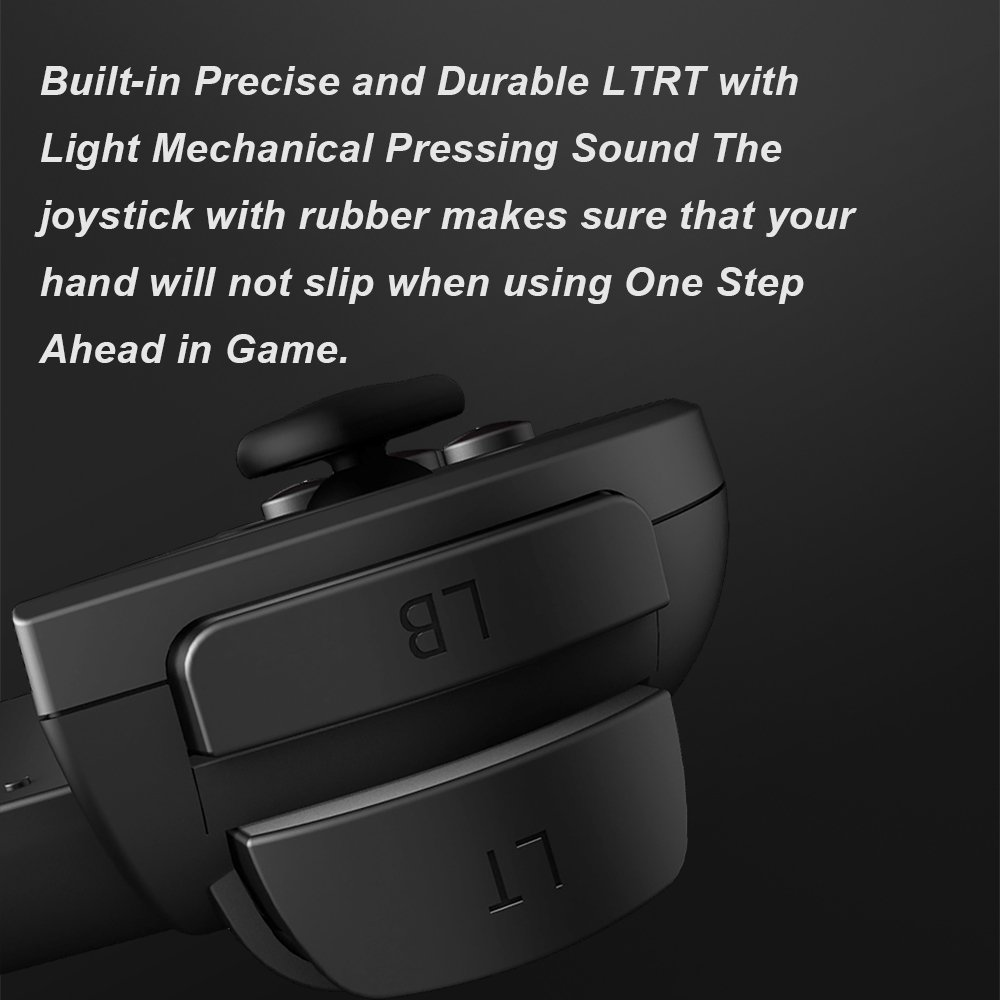 built-in precise and durable ltrt with light mechanical pressing sound the joystick with rubber makes sure that your hand will not slip when using one step ahead in game.