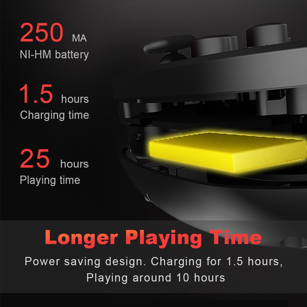 longer playing time,power saving design. Charging for 1.5 hours, playing around 10 hours